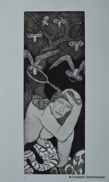 "(1/5)         from the series: ( "" Butterflies in the belly are to be catch "" )    47x18 cm   *   drypoint, line etch, aquatint -   2012"