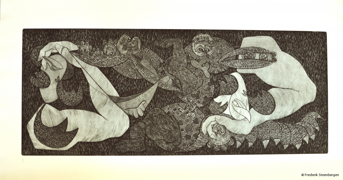 "(1/5)         From the series ( "" Eternal circle "" )    85x35 cm  *   drypoint, line etch, aquatint -   2015"