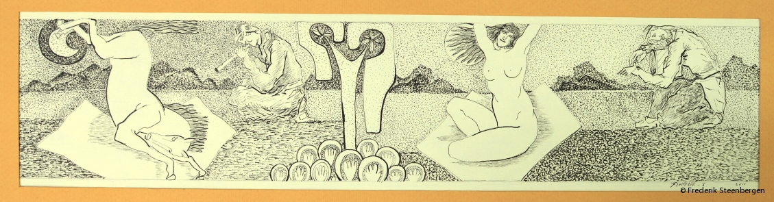 """"""" Georgian culture """"    48x11cm     drawing ink on paper -  2009"""