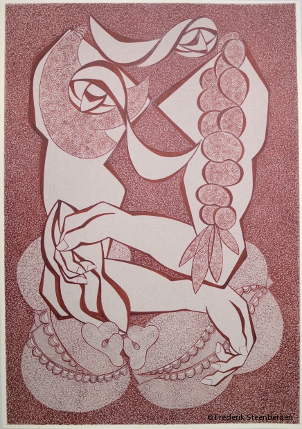 """bosom""    76.5x52.5 cm   *   drawing ink on Ingres paper -   2016"