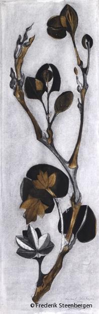 Untitled    97x42cm chalk, bister, washed (burnt paper montage) -  2006