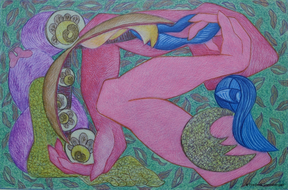 """From the series ( """" eternal circle """" ) 62x42cm -  colour pencil  on paper - 2014"""