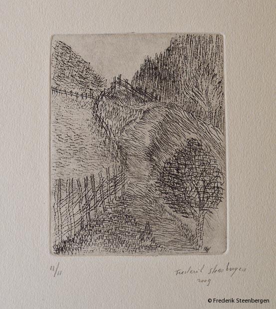 "(1/11)        "" path to Marilisi ""  12.5x10cm * drypoint  - 2009"