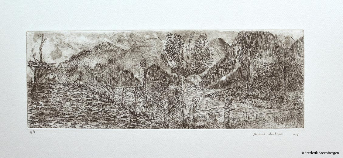 "(1/4)         ""Georgian nature""  39x13cm  * drypoint  -  2009"