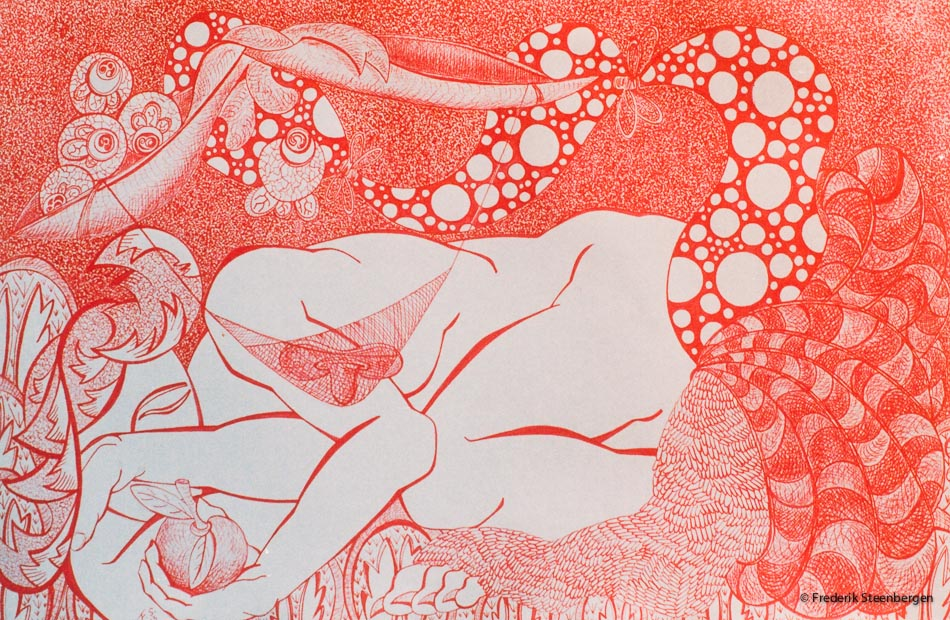 """From the series: ( """"Eternal circle"""" )     62x39cm  Magenta drawing ink, Ingres on paper - 2014"""