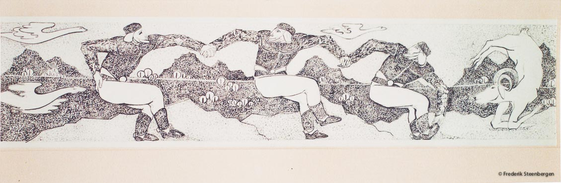 """ Georgian  folk dance ""     48x11cm drawing ink on paper  -  2009"