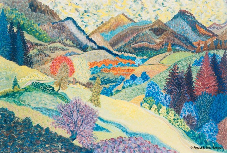 """"""" Nature around Vakhani """"    78x49cm tempera on paper -  2013"""