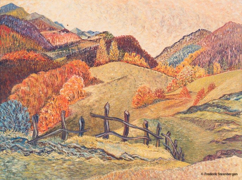 """( """" Georgian nature in autumn """" )    78x49cm tempera on paper -  2013"""