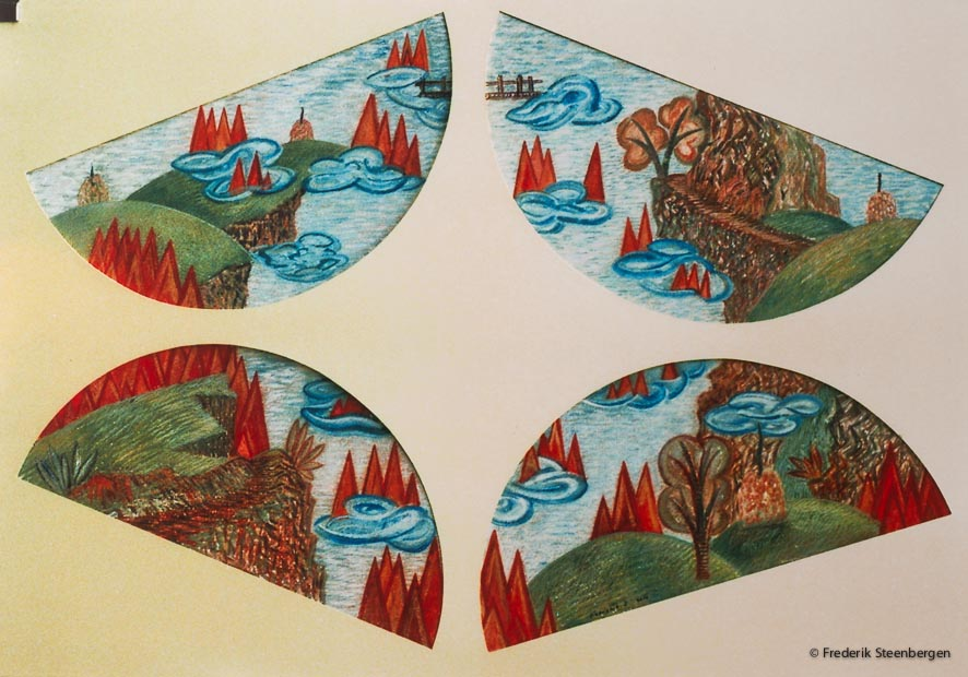 """The four pieces""    78x52cm gouache  on paper -   2010"
