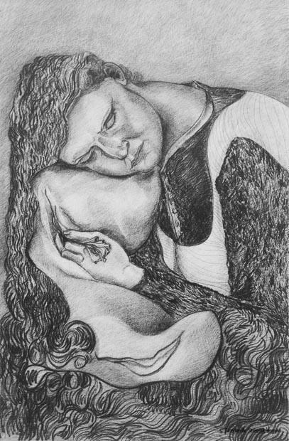 """ Sleeping tongue of smile ""    98x69cm pencil, graphite stick, gum on paper -    2011"