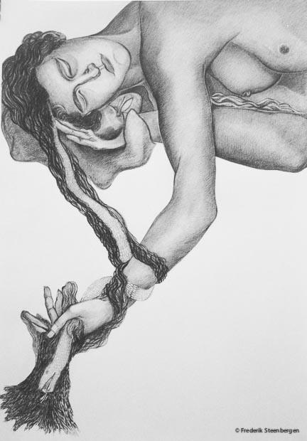 """Lilith""   100x70cm pencil, gum on paper -   2007"