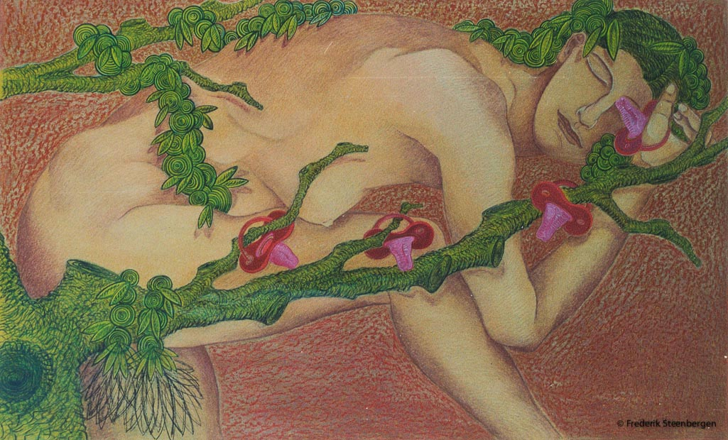"""From the series: ( """" Time growth as hair for a lifetime """" )   130x81cm oil pastel, chalk, drawing ink, washed on paper-  2010"""