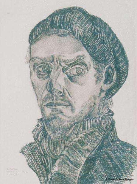 ( selfpotrait)  49x38cm  black chalk,charcoal on paper  -    2010