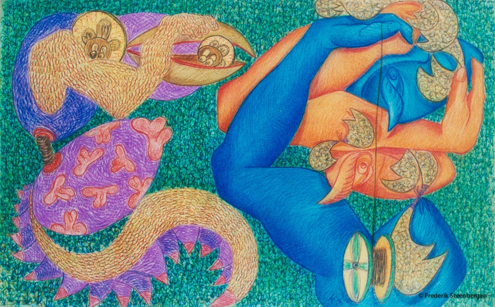 """From the series: ( """"Eternal circle"""" )    61x42cm -  coloured pencils  on paper - 2014"""