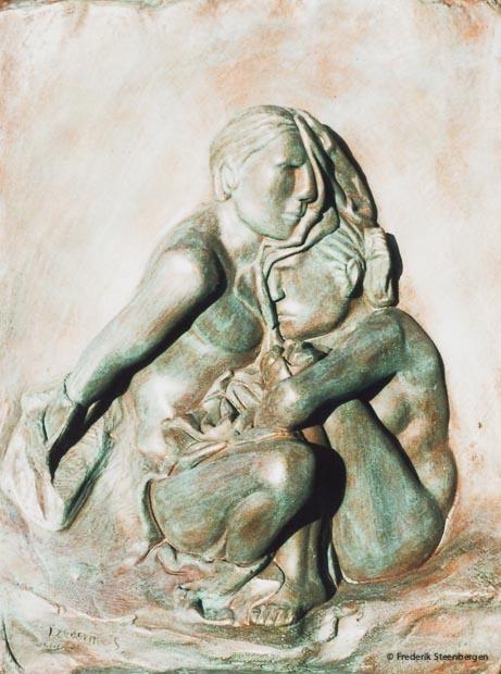 """""""  ზეზვა და მზია """"   ( Zezva and Mzia )    46x36cm   *     bronze    Bas-relief     _    2007"""