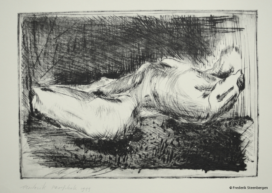 """""""Torso""""     32x22cm  *   drypoint and hot metalstick burnt on plexy glass, rotogravure  (proof) - 1999"""