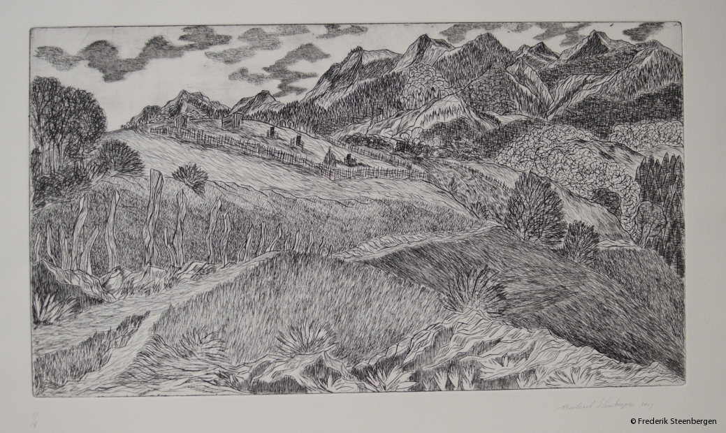 "(1/8)         ""cemetery in the Valley around  Vakhani ""  44.5x25 cm  * drypoint  -  2014"