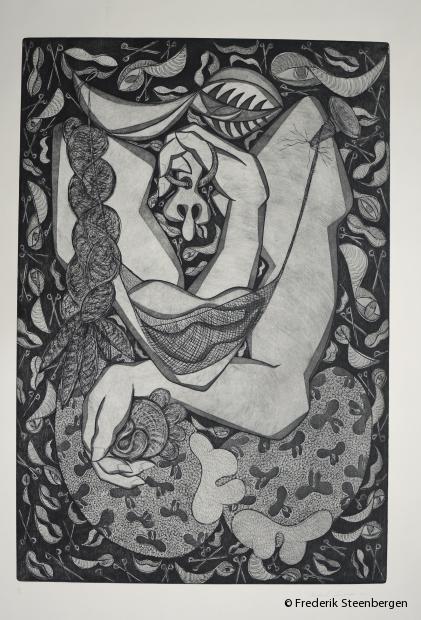 """(1/5)         """"bosom""""    72.5x55.5 cm   *   drypoint, line etch, aquatint -   2015"""