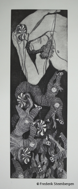 """(1/4)           From the series (  """"In the game of love"""" )     69.5x23.5cm  *  drypoint, line etch, aquatint -   2012"""