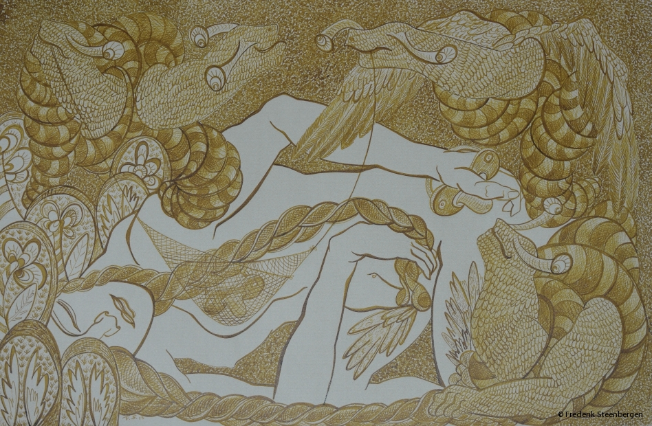 "From the series: ( ""Eternal circle"" )     62x39cm  umber drawing ink, Ingres on paper - 2014"