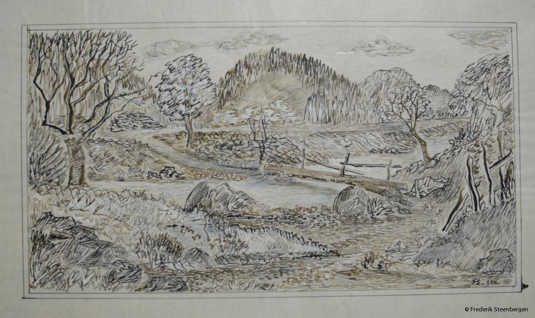 """nature around Marilisi ""    14x17cm  *   bister- drawing ink on ricepaper 2004"